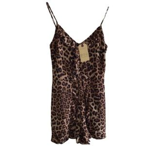 NEW BAND OF GYPSIES LEOPARD ANIMAL SHORTS ROMPER
